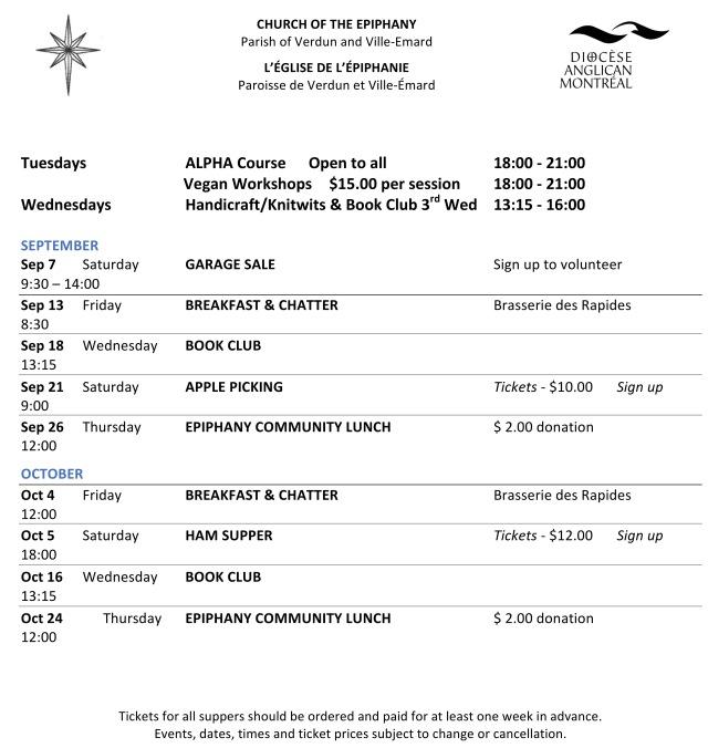 calendar of Events Sept-Dec 19